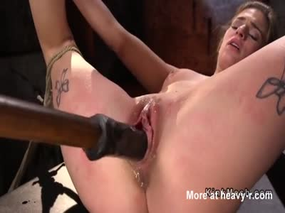 Tied Blonde Toyed WIth Dildo On A Stick