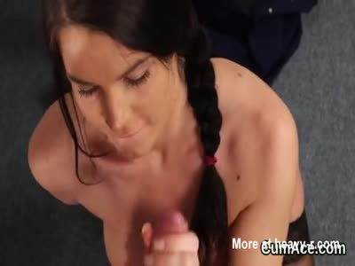 Naughty beauty gets cumshot on her face eating all the charg