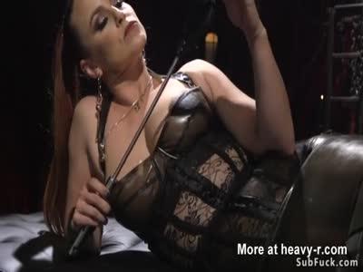 Sadist busty dominatrix torments guy