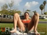 Teen Tease And Strip Outdoors