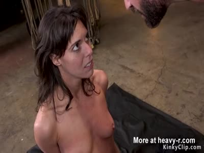 Gagged brunette gets pussy clamped