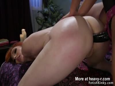 Butt plugged redhead lesbian spanked