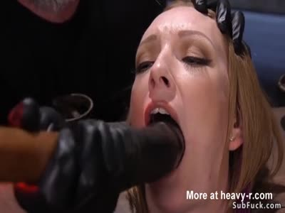 Brunette slave in stock mouth toyed