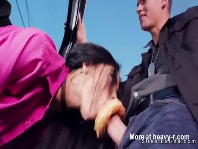 Latina sucks and fucks officers