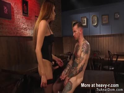 Tranny anal fucks dude in bar