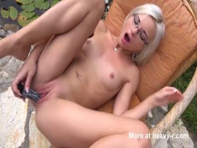 Sexy Blonde Masturbating Outdoors