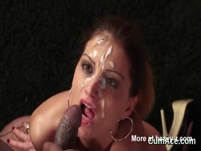 Horny sex kitten gets jizz load on her face gulping all the
