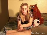 Blonde Bitch Shows Her Handjob Technique