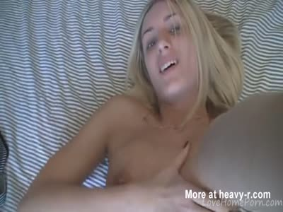 Sweet Blonde Strips And Plays With Pussy