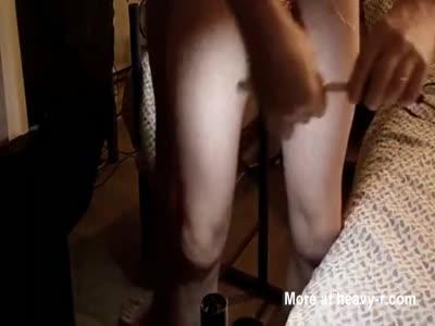 extrem inflated foreskin illumined cross many needles