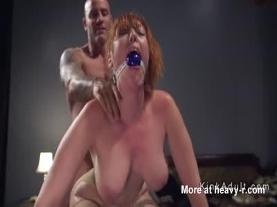 Gagged Busty Redhead Anal Fucked Hard