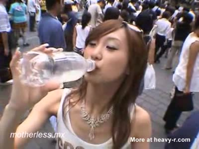 Public Cum Drinking From Bottle