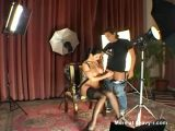 Busty lingerie model fucks with camera man