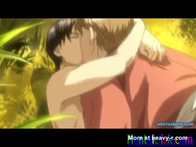 Hentai gay man hot kissed and anal sex fun