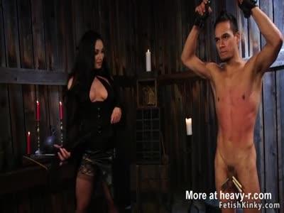 Milf mistress anal fucks tied up guy