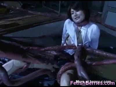 Alien Tentacles Cum All Over Her!