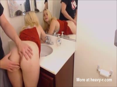 Curvy blonde enjoying a nice bathroom sex