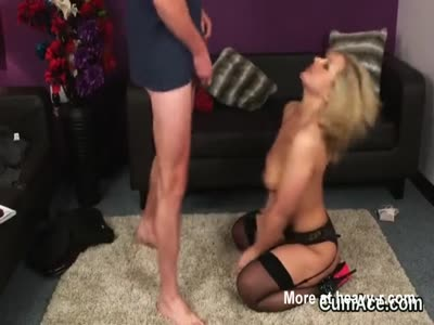 Wicked bombshell gets cum shot on her face swallowing all th