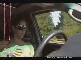 Chick gets naked while driving