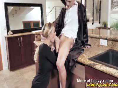 Stepmom lets stepson fuck her milf pussy as a reward