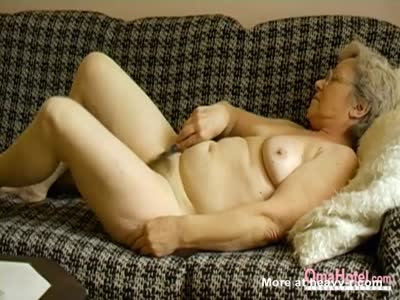 Horny Grandma Toying Her Hairy Pussy