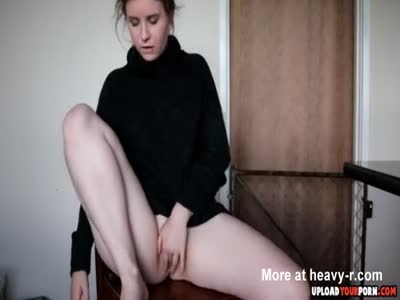 Quick Solo Masturbation With A Brunette Teen In A Sweater