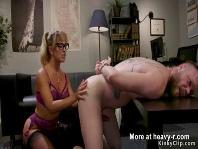 Busty Milf anal fucks male slave