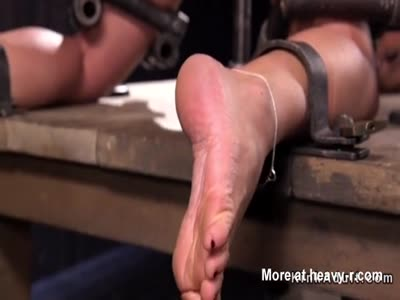 Busty feet and pussy tormented