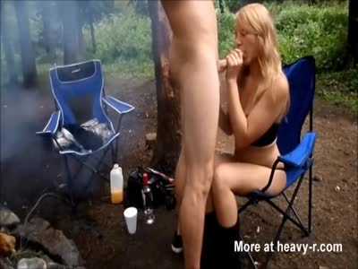 Amateur Blowjob At Camp Fire