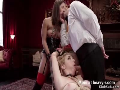 Hot slaves gives double blowjob bdsm