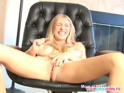 Blondie Teasing Pussy In Office Chair