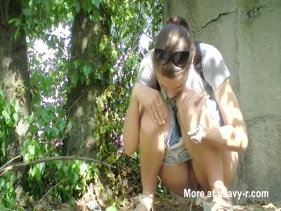 Russian girl caugh pissing in the wood