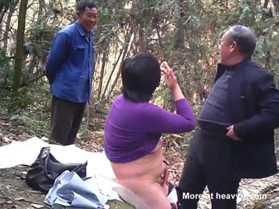 Asian old man fuck whore in wood