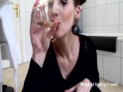 Drinking her own piss