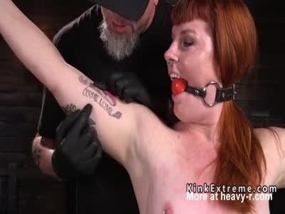 Ball Gagged Redhead Tortured Big Time
