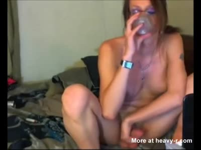 Naughty shemale fucks her ass