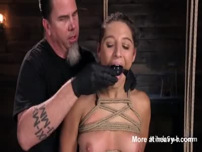 Tied up slave gets red ass whipped