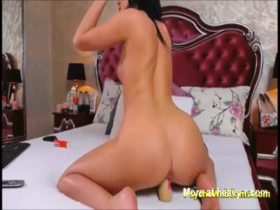 Hot Black Hair Latina Leaking Wet Pussy With a Toy Inside