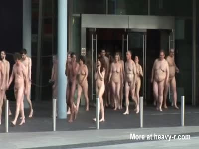 Hundreds of nude people together