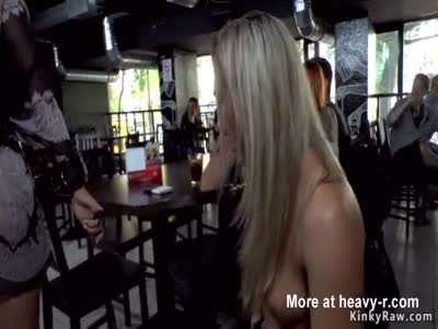 Two babes anal fucked in public bar