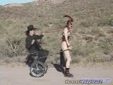 Slave pulls his carriage.