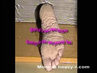 Bianca's wet feet torture...Sawing