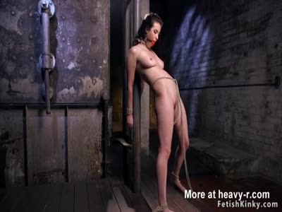 Hot busty babe in brutal hogtie torment