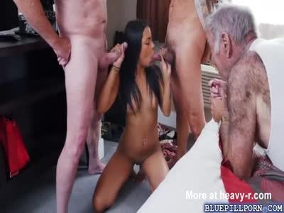 Latina Teen Gangbanged By Grandpas
