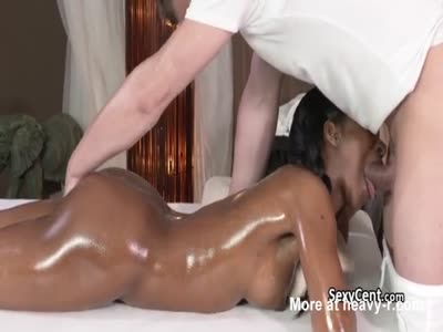 Oiled Ebony Face Fucked