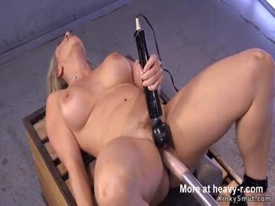 Busty Blonde Rides Fucking Machine