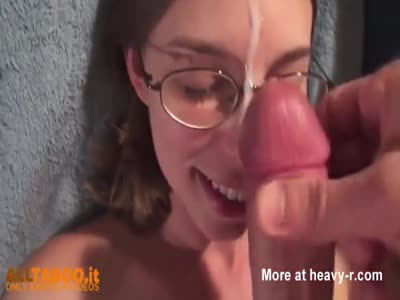 Nerdy Sister Facialed After Blowjob