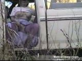 Hillbilly wife flashes from car