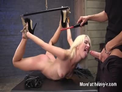 Prodding Restrained Blonde Girl