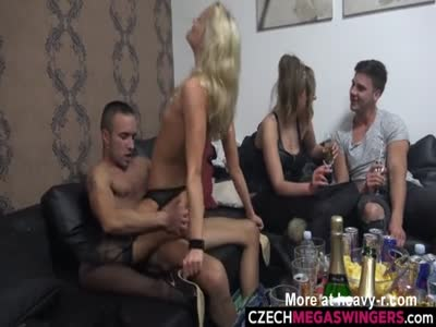 Blonde Amateur Riding Cocks At Swingers Party